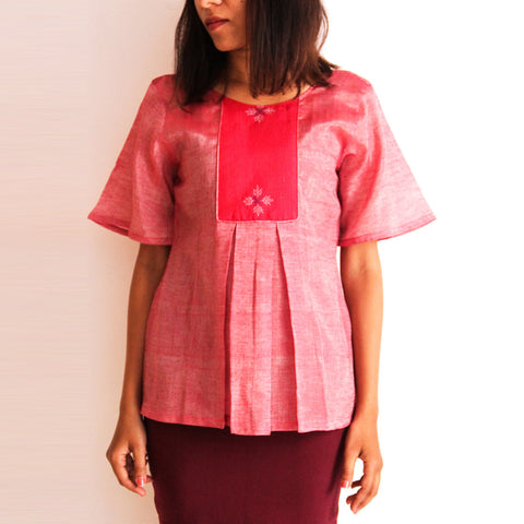 Pink Cotton Pleated Top