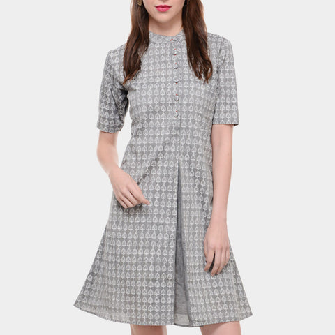Grey Mangalgiri Cotton Dress With White Block Print