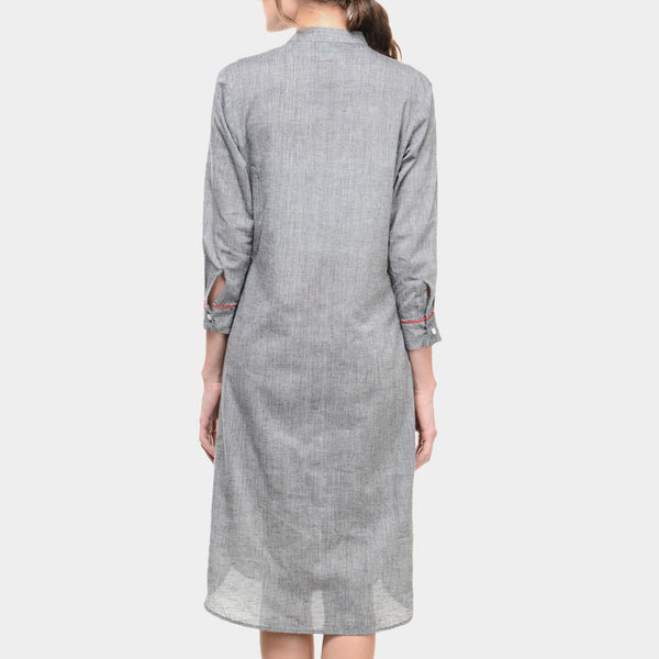 Grey Mangalgiri Cotton Tunic With Yoke