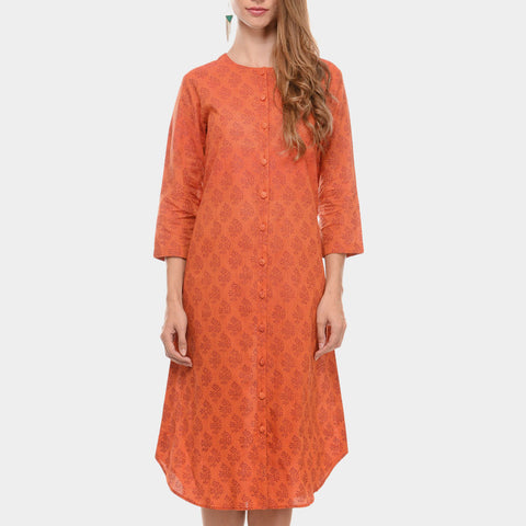 Orange Mangalgiri Cotton Hand Block Printed Maxi With Box Pleat On The Back