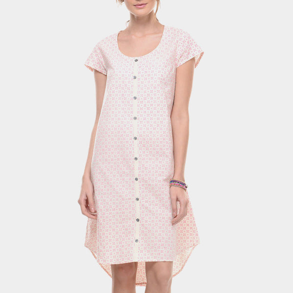 White Muslin Mangalgiri Cotton Tunic With Neon Pink Block Print