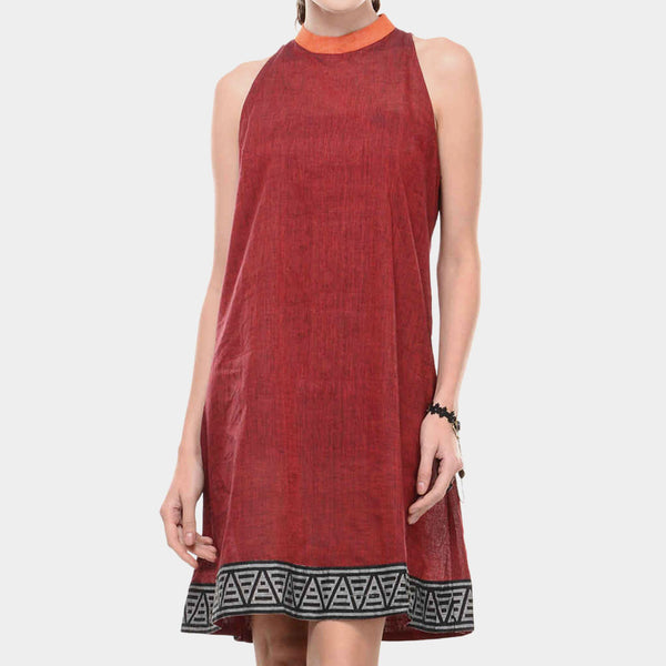 Maroon Mangalgiri Cotton Dress With Printed Border