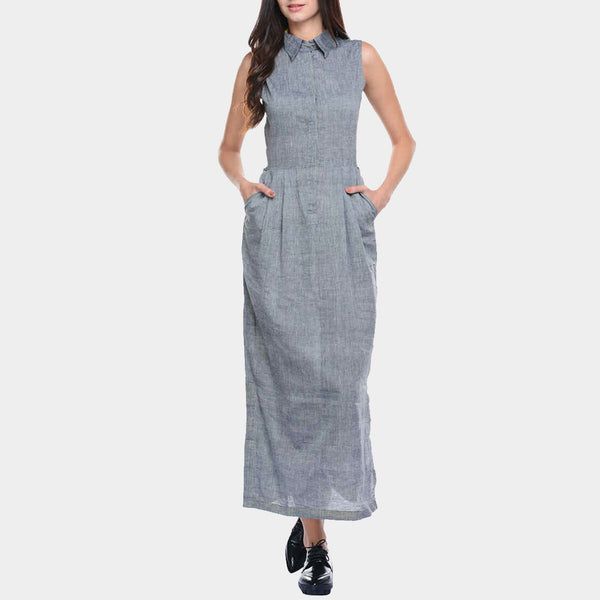 Grey Mangalgiri Cotton Maxi with Collars & Side Slit