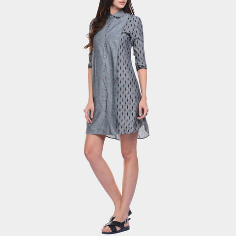 Grey Mangalgiri Cotton Tunic with Collars & Button Details by ans by astha & sidharth