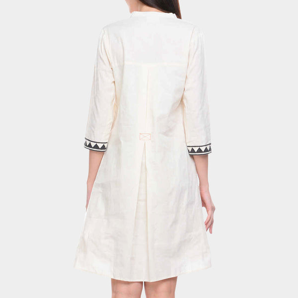White Cotton Tunic With Block Printed Yoke