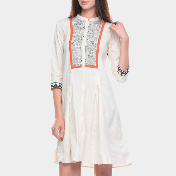 White Cotton Tunic with Block Printed Yoke by ans by astha & sidharth