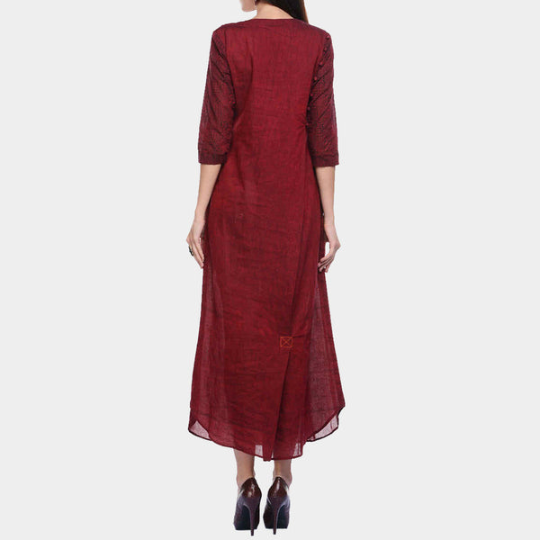 Maroon Cotton Maxi with Detailing on Back