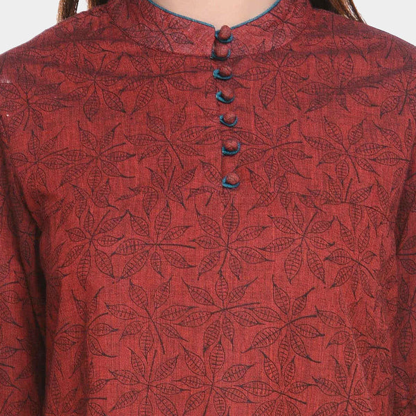 Maroon Black Printed Mangalgiri Cotton Tunic