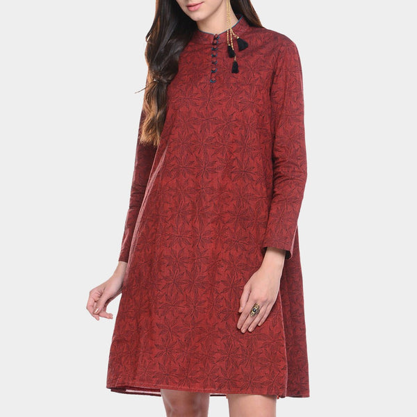 Maroon Black Printed Mangalgiri Cotton Tunic by ans by astha & sidharth