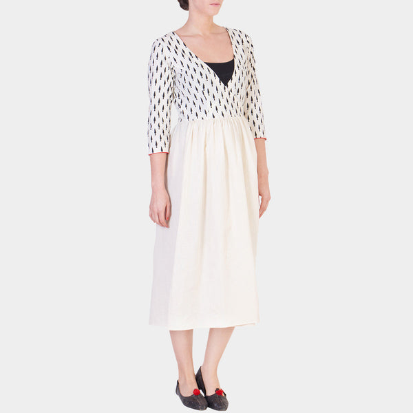 White Block Printed Cotton Wrap Dress