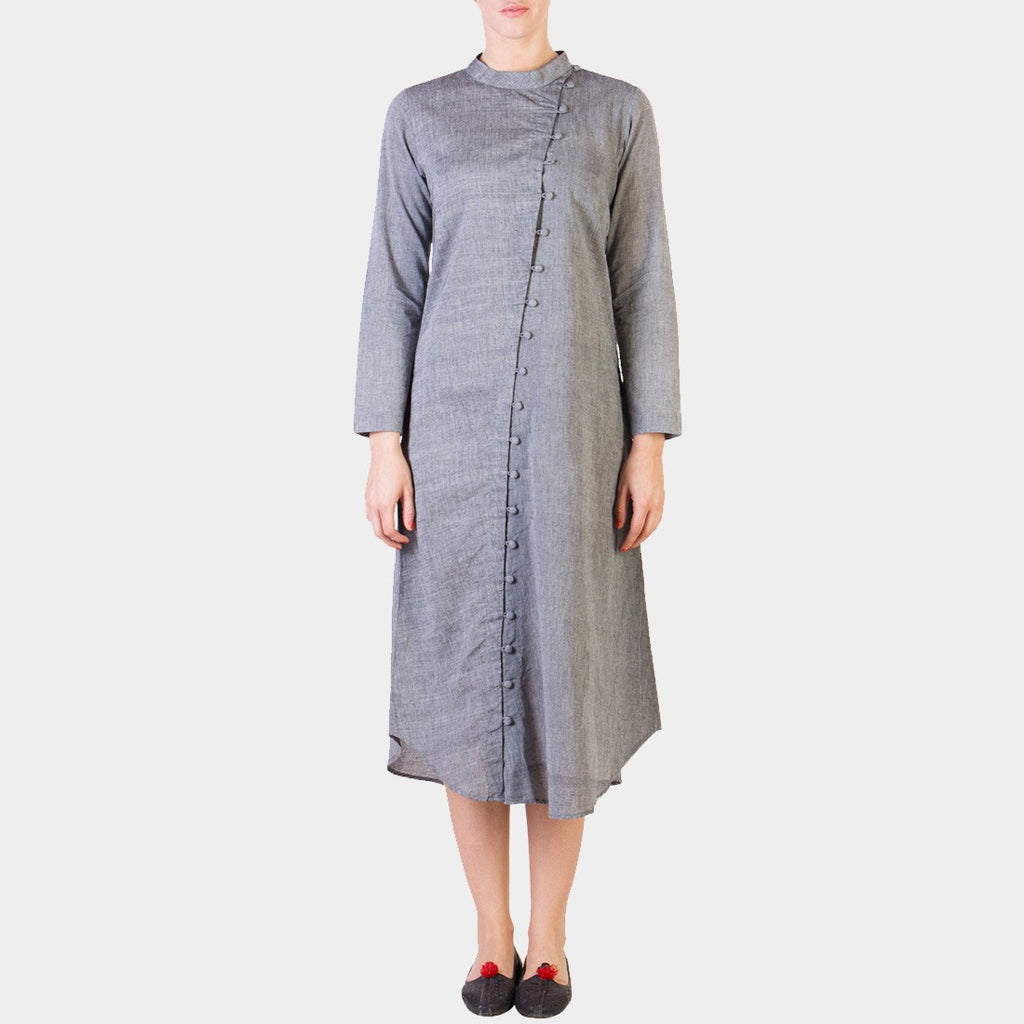 Grey Cotton Tunic with Asymmetrical Button Details by ans by astha & sidharth