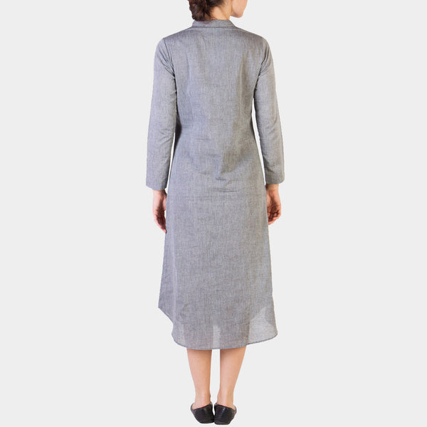 Grey Cotton Tunic With Asymmetrical Button Details