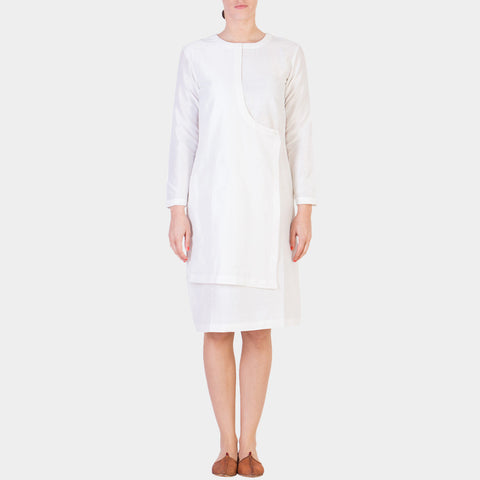 White Cotton Silk Angrajha Dress