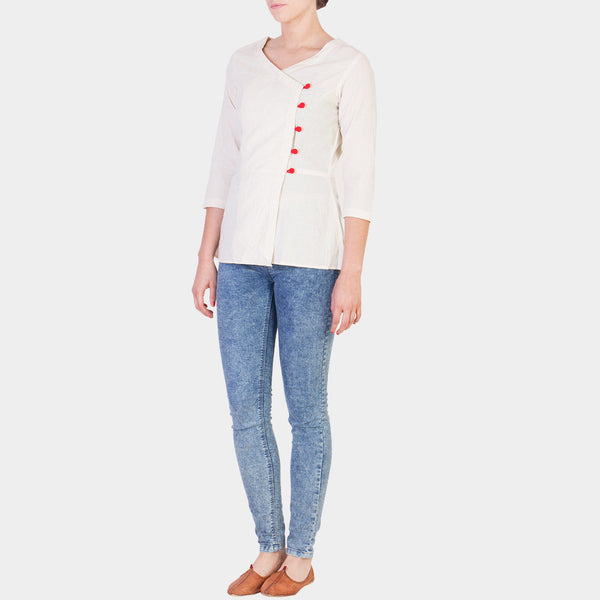 White Cotton Muslin Top with Red Button Details