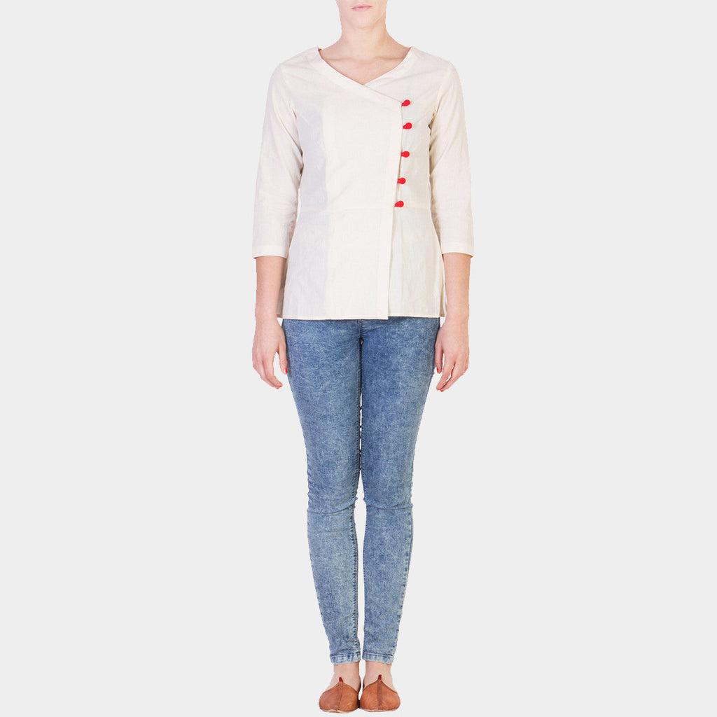 White Cotton Muslin Top with Red Button Details by Ans by Astha & Sidharth