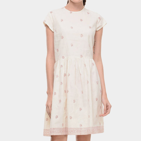 White Muslin Dress With Maroon Block Print