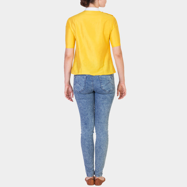 Yellow Solid Color Cotton Silk Top with White Details