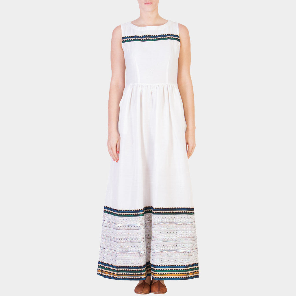 White Hand Block Printed Zig Zag Cotton Silk Maxi