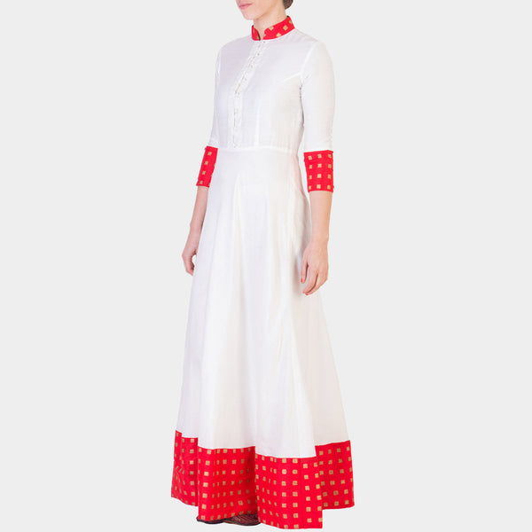 White Hand Block Printed Cotton Silk Maxi with Red Details