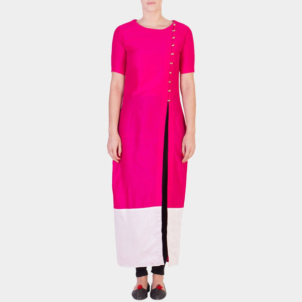 Pink Solid Color Tunic with Asymmetrical Button Details by ans by astha & sidharth