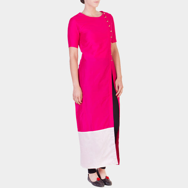 Pink Solid Color Tunic With Asymmetrical Button Details