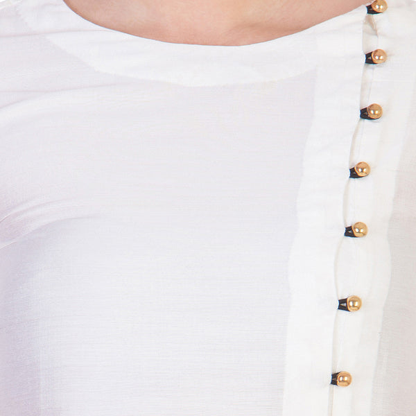 White Solid Color Tunic With Asymmetrical Button Details