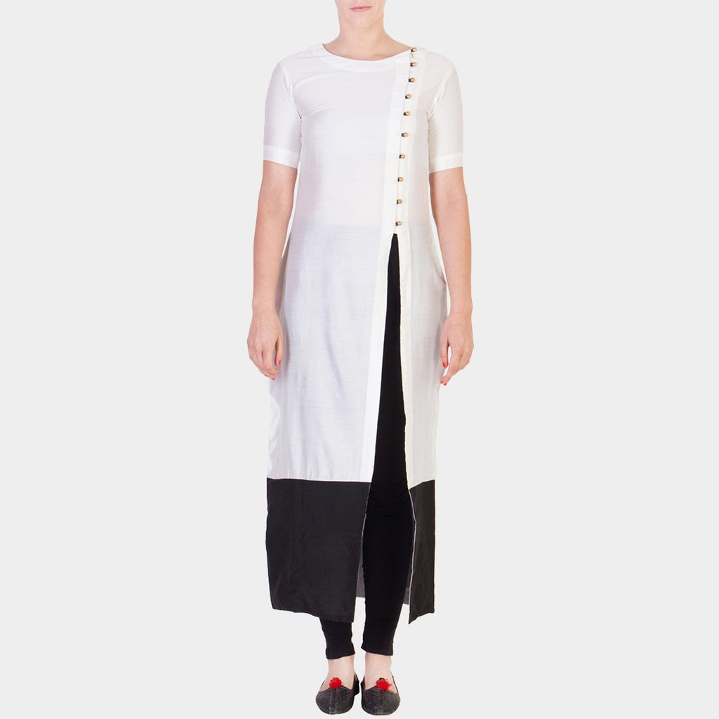 White Solid Color Tunic with Asymmetrical Button Details by ans by astha & sidharth