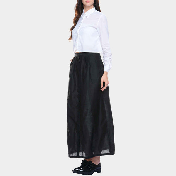 Black Cotton Silk Skirt
