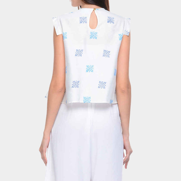 White Cotton Silk Top with Inverted Pleat Front