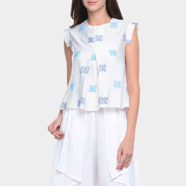White Cotton Silk Top with Inverted Pleat Front by Ans by Astha & Sidharth