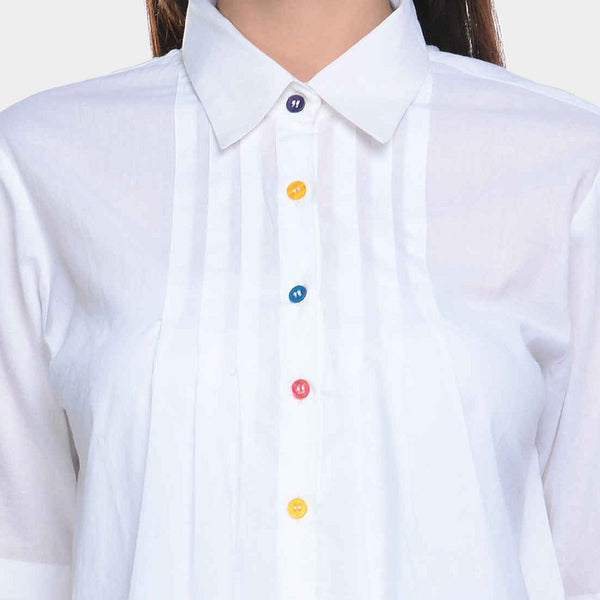 White Cotton Cambric Pleated Top