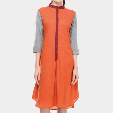 Orange Mangalgiri Cotton Dress With Front Placket & Mandarin Collar