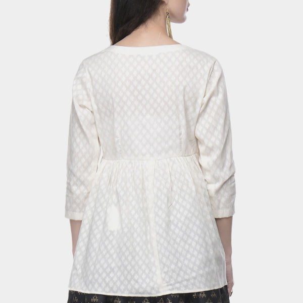White Angrakha Top In Cotton Jacquard