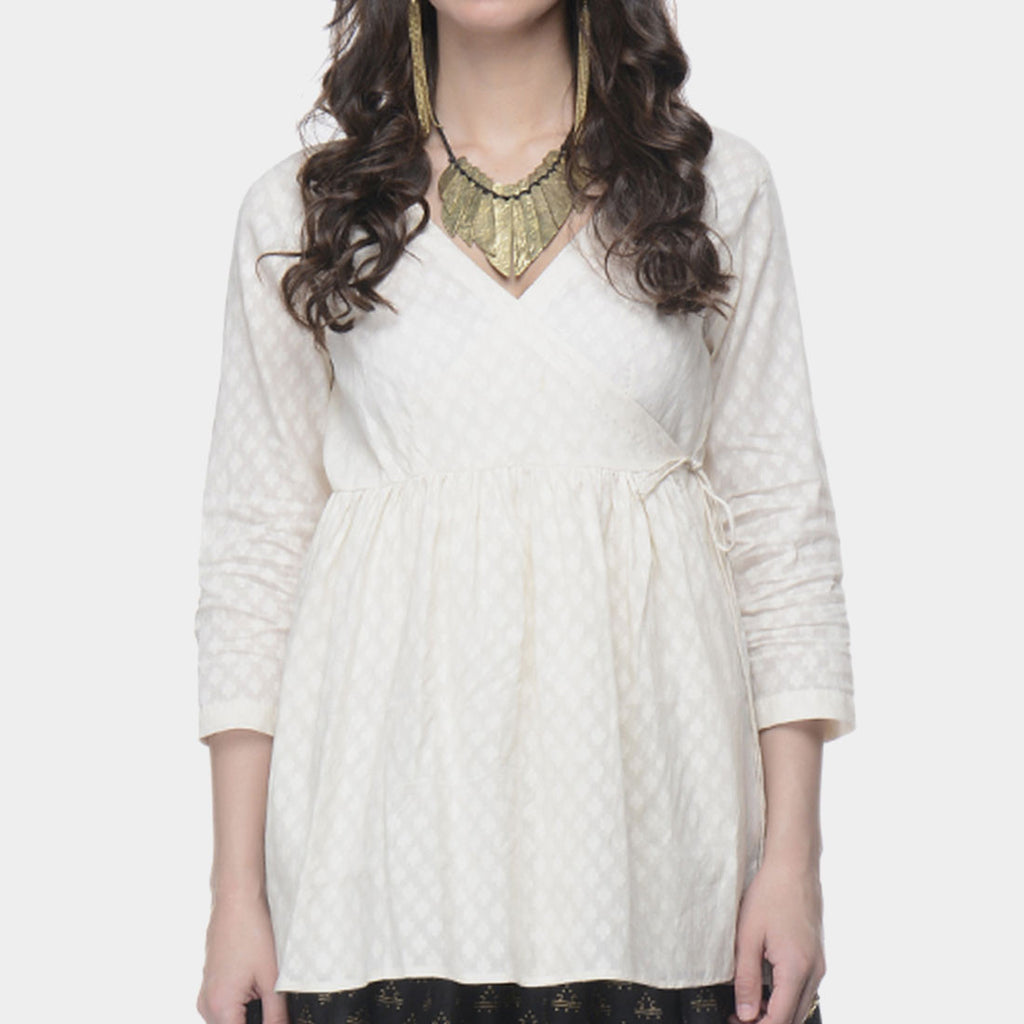 White Angrakha Top In Cotton Jacquard by Ans by Astha & Sidharth