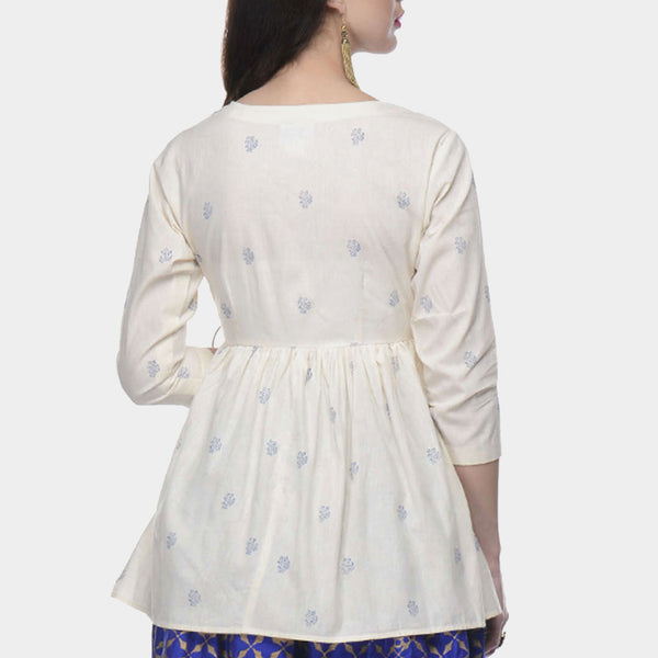 White Muslin Angrakha Top With Blue Block Print