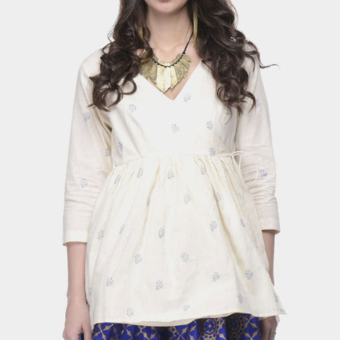 White Muslin Angrakha Top With Blue Block Print by Ans by Astha & Sidharth