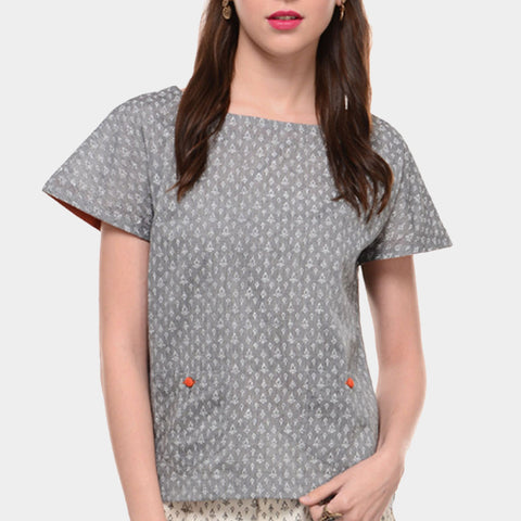 Grey Mangalgiri Cotton Top With White Block Print by Ans by Astha & Sidharth