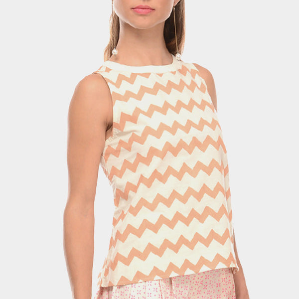 White Cotton Top With Chevron Beige Hand Block Print by Ans by Astha & Sidharth