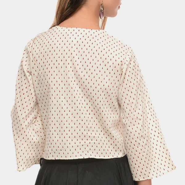 White Cotton Top With Bell Sleeves