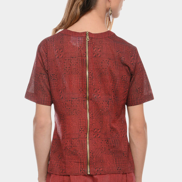 Maroon Mangalgiri Cotton Abstract Hand Block Print Top