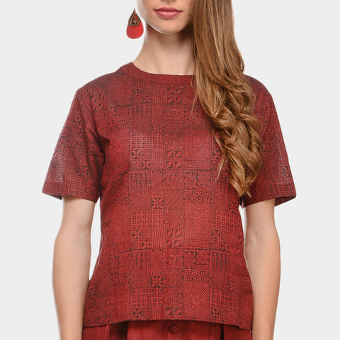 Maroon Mangalgiri Cotton Abstract Hand Block Print Top by Ans by Astha & Sidharth