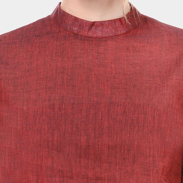 Maroon Mangalagiri Cotton Top With White Stripes