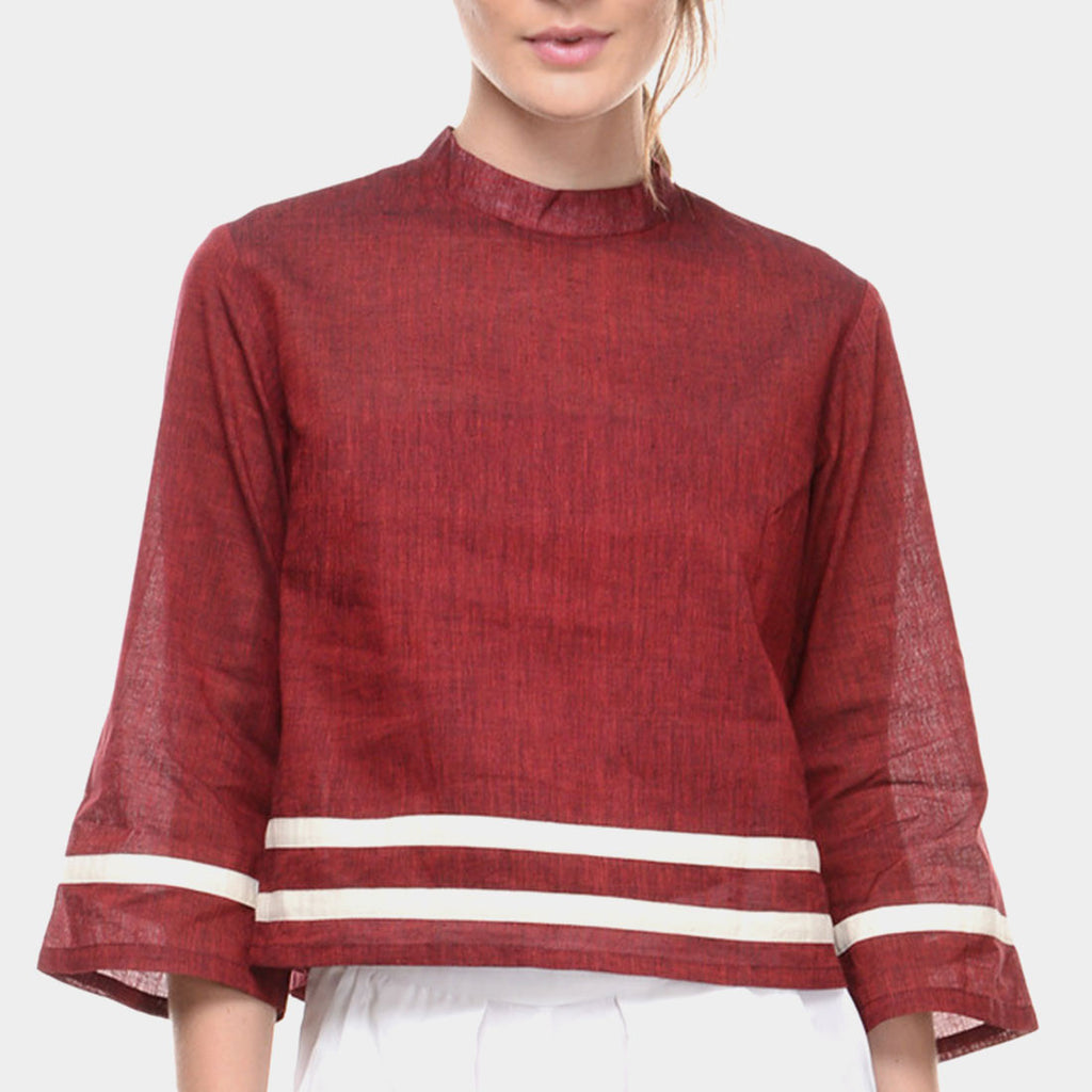 Maroon Mangalagiri Cotton Top With White Stripes by Ans by Astha & Sidharth