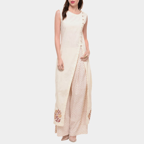 White Cotton Tunic With Front Slit by ans by astha & sidharth