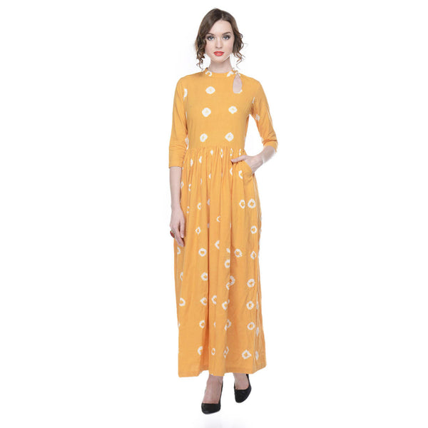 Yellow Tie & Dye Maxi in Muslin