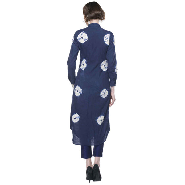 Navy Blue Tie & Dye Dress in Muslin