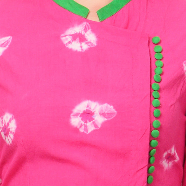 Pink Tie & Dye Dress With Green Buttons