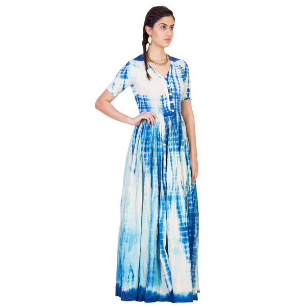 White & Blue Tie & Dye Maxi in Muslin