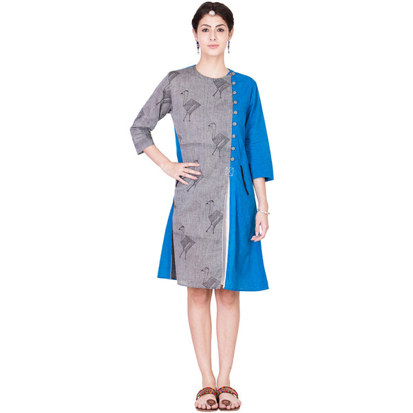 Grey and Blue Mangalgiri Tunic