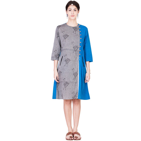 Grey and Blue Mangalgiri Tunic by ans by astha & sidharth
